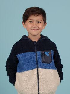 Cárdigan con capucha tricolor de pelo artificial para niño MOPLAGIL / 21W902O1GIL705