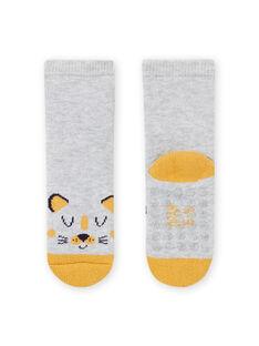 Calcetines de color gris jaspeado con estampado de leopardo para bebé niño MYUJOCHOB1 / 21WI1017SOQ943