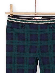 Pantalón milano de color azul y verde con estampado de cuadros escoceses para niña MAJOMIL3 / 21W90113PANC243