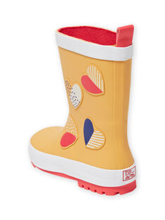 Botas de agua de color naranja con estampado de corazones de fantasía para niña MAPLUICOEUR / 21XK3511D0C400