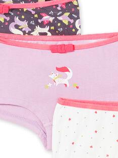 Pack de 3 shorties de color rosa, violeta y blanco para niña LEFAHOT6 / 21SH1126SHYJ916