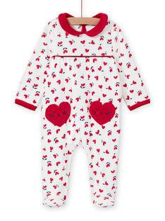 Pelele de color crudo con estampado de corazones para bebé niña MEFIGREMIX / 21WH1331GRE001