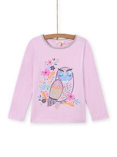 Camiseta lavanda con estampado de búho de fantasía para niña MAPLATEE1 / 21W901O3TML326