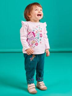 Pantalón reversible de color azul pato para bebé niña MITUPAN / 21WG09K1PAN714