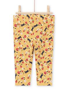 Leggings amarillos y rojos con estampado floral para bebé niña MYIMIXLEG / 21WI09J1CALB106