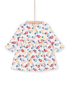 Vestido de color crudo y azul, con estampado floral, para bebé niña LIHAROB1 / 21SG09X1ROB001