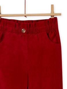 Pantalón rojo estilo paperbag de pana para niña MAFUNPANT2 / 21W901M1PANF504