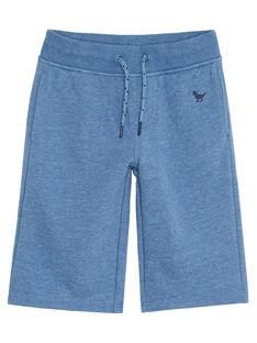 Bermudas de muletón de azul jaspeado para niño JOJOBER5EX / 20S90256D25C206