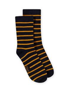 Calcetines de rayas de color azul marino y amarillo para niño MYOJOCHOR4 / 21WI0214SOQ113