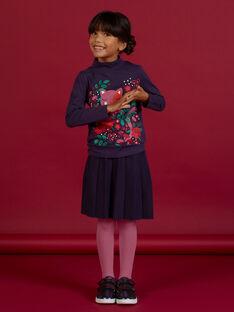Falda plisada de punto de color azul oscuro para niña MAFUNJUP1 / 21W901M1JUPH703