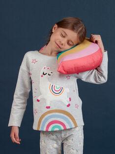Pijama de muletón gris jaspeado con estampado de alpaca fluorescente para niña MEFAPYJLAM / 21WH1194PYJJ920