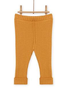 Leggings lisos de color amarillo mostaza efecto canalé para bebé niña MYIJOLEGCO5 / 21WI0912CALB106