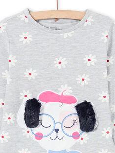 Conjunto de pijama de camiseta y pantalón gris jaspeado para niña MEFAPYJDOG / 21WH1185PYJ943