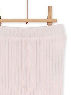 Leggings lisos de color rosa pastel efecto canalé para bebé niña MYIJOLEGCO2 / 21WI0913CAL632