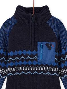 Jersey de jacquard azul para niño MOPLAPUL / 21W902O1PUL705