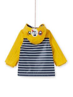 Impermeable con capucha de color amarillo y azul de rayas, para bebé niño LUGROIMP / 21SG10R1IMP106
