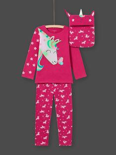 Pijama de camiseta y pantalón rosa oscuro para niña MEFAPYJLIC / 21WH1173PYGD312