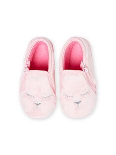 Patucos de color rosa claro de pelo artificial con estampado de gato para bebé niña MIPANTFUR / 21XK3722D0A321