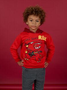 Sudadera-camiseta con capucha de color rojo con estampado de dinosaurio para niño MOFUNSWE / 21W902M1SWEF505