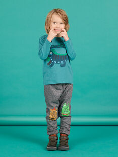 Pantalón de chándal de muletón gris jaspeado para niño MOTUJOG / 21W902K1JGBJ922