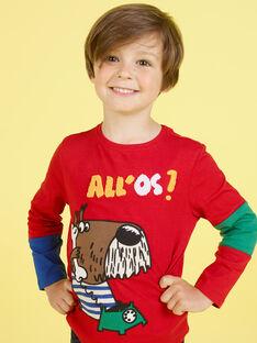 Camiseta roja con estampado de perro de fantasía para niño MOMIXTEE4 / 21W902J2TML505