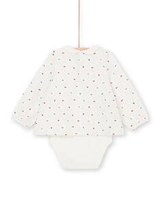 Body de lunares de color crudo y rojo, con estampado floral, para bebé niña LIHABOD2 / 21SG09X1BOD001