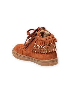 Zapatillas de color camel con flecos para bebé niña MIBASFRANGE / 21XK3751D3F804