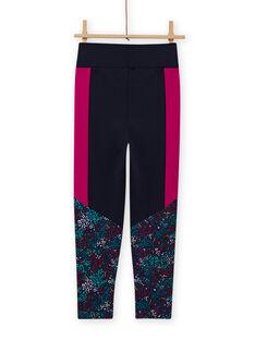 Leggings azul marino con estampado floral para niña MAJOBAJOG4 / 21W90119PANC205