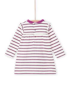 Vestido de rayas con bolsillos con forma de mariposa para bebé niña MIPAROB2 / 21WG09H5ROB712