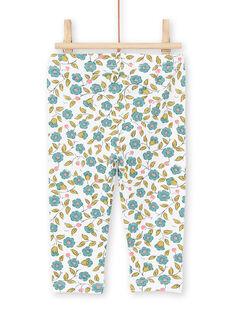 Leggings de color crudo y verde con estampado floral para bebé niña MYIKALEG / 21WI09I1CAL001