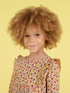 Blusa de manga larga de color mostaza con estampado floral para niña MAMIXTEE1 / 21W901J3TMLB106