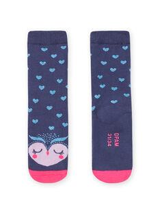 Calcetines azules de rizo con estampado de búho para niña MYAPLACHO / 21WI01O1SOQC202