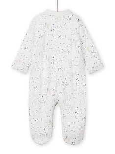 Pelele de color crudo con cuello con estampado de fantasía para recién nacido unisex MOU1GRE3 / 21WF0441GRE001