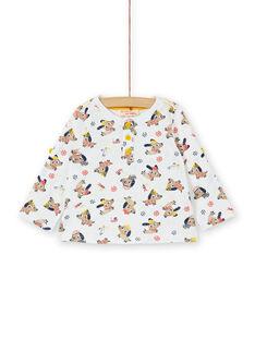 Camiseta de algodón de color crudo con estampado de perros y fantasía para bebé niño LUNOTUN / 21SG10L3TML001