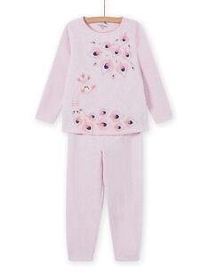 Pijama de color rosa jaspeado con estampado de pavo para niña MEFAPYJPEA / 21WH1132PYJD314