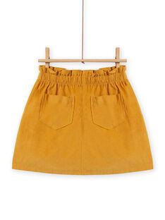 Falda paperbag amarilla de pana para niña MASAUJUP1 / 21W901P2JUPB107