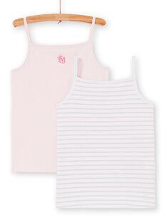 Pack de 2 camisetas de tirantes de color rosa y blanco, para niña LEFADELFRU / 21SH1122HLI301