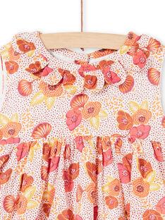 Vestido rosa, crudo y amarillo con estampado floral y lunares LITERROB2 / 21SG09V1ROB001