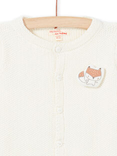 Cárdigan de punto de color crudo con estampado de zorro para recién nacido unisex MOU1GIL2 / 21WF0541GIL001