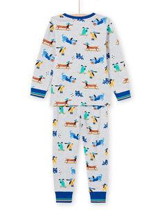 Pijama gris jaspeado con estampado de perros para niño MEGOPYJDOG / 21WH1235PYJJ922
