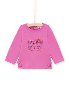 Camiseta de manga larga de color rosa con estampado de cara de leopardo con brillo para bebé niña MIPATEE2 / 21WG09H3TMLH705