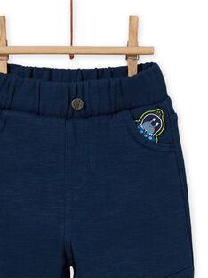 Pantalón celeste con parche de extraterrestre para bebé niño MUPLAPAN1 / 21WG10O1PANC204