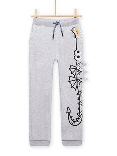 Pantalón de chándal gris jaspeado con estampado de dragón para niño MOPLAJOG / 21W902O1JGBJ922