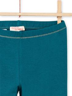 Leggings de color turquesa con detalles dorados para niña MYAJOLEG4 / 21WI0114CAL714