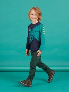 Pantalón de sarga verde oscuro para niño MOTUPAN2 / 21W902K2PANG618