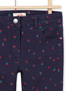 Pantalón de sarga de color azul noche con estampado de flores y corazones para niño MAJOPANT3 / 21W90121PANC205