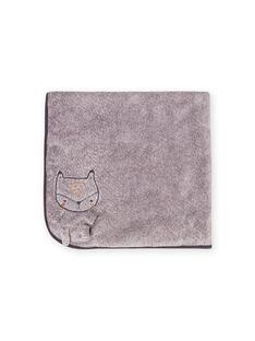 Manta de color gris jaspeado con estampado de zorro para recién nacido unisex MOU1COUV / 21WF4241D4PJ922
