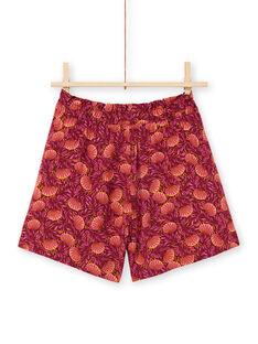 Short burdeos y naranja con estampado de hojas para niña LATERSHORT3 / 21S901V2SHO719