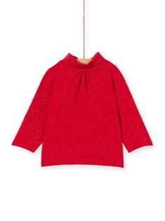 Jersey fino de color rojo rubí para bebé niña KIJOSOUP3 / 20WG0945SPLF529