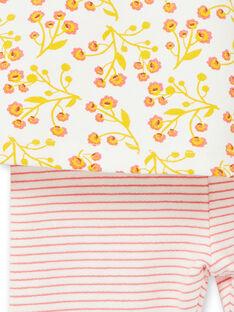 Conjunto de vestido de color blanco y amarillo, con estampado floral, y leggings de rayas, de color blanco y rojo, para bebé niña LINAUENS1 / 21SG09L2ENS001